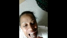 Obedient ebony girl loves the taste of cum