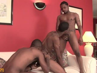 Rock fucks Manny and Hotrod bareback with his big black dick