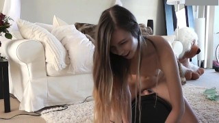 Adorable Teenage Girl Rides Sybian For First Time Legs small