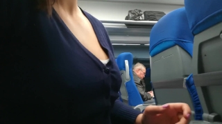 Stranger Jerked and suck me in the train  public bus teacher of magic public blowjob strange voyeur public stranger jerk train public handjob watch in train cum in mouth public amateur