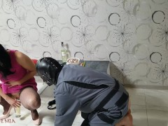 Pissing,foot worship and candle in ass as a gift for my slave's birthday