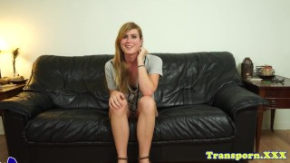 Solo trans amateur drills her ass with toys