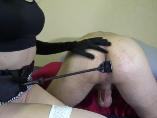 Spanking my slave boyfriend & fuking with huge strapon my small pussy