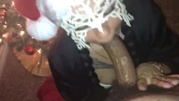 Deep throating every inch of daddy's big black cock