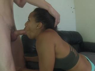 black girl gagging deepthroat with big dick then takes huge smiling facial