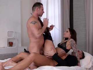 Preview 5 of Submissive Nikita Bellucci Deepthroat and epic Double Penetration
