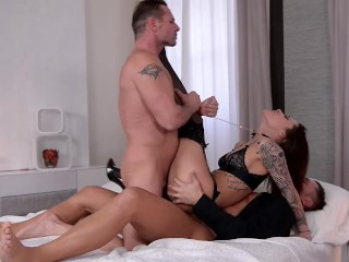 Preview 6 of Submissive Nikita Bellucci Deepthroat and epic Double Penetration