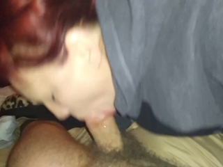 Redhead gives head before work