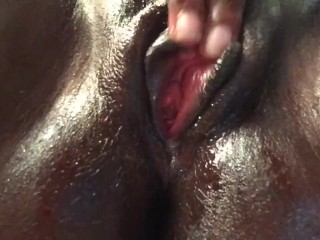 Ebony Teen Plays with Pussy and Squirts