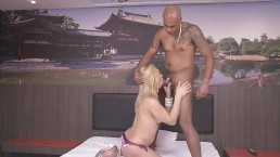 Blonde Shemale Fucked by Big Black Cock and Gets Mouth Full of CUM