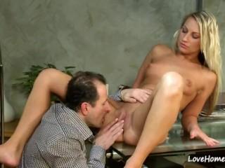 Blonde slut riding his pulsating hard cock
