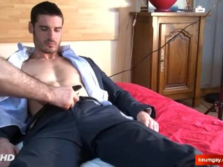 Jeremy French straight guy's cock gets wanked in spite of him.