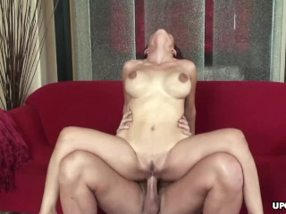 Busty Asian brunette gets a spunk in her awesome face