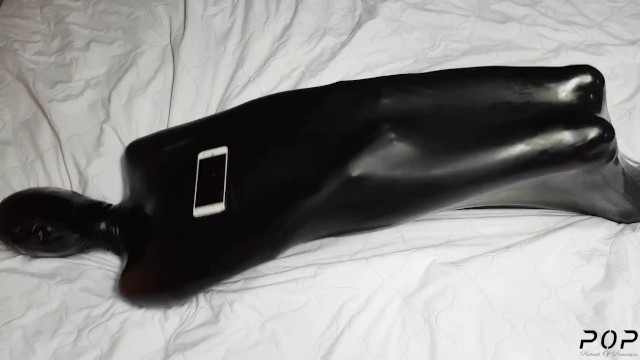 Breth play bdsm Miss perversion trapped, teased breath controlled in a latex sleepsack