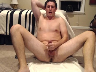 Naked male exhibitionist cums for strangers to see