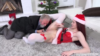 Old-n-Young.com -Lovenia Lux- Ginger elf finds a dildo under Christmas tree