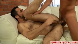 Hairy big daddys ass hole gets hard fuck by horny twink