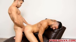 Attractive hunks Kevin and Mick share hot passion on a sofa