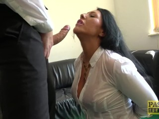 Candi Kayne gets throat fucked and gets a mouth full of cum