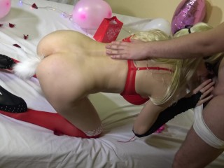 Romantic Valentine day gift fuck me good with creampie and tail in my ass