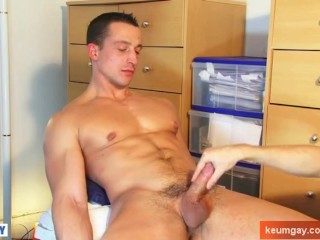 Eric innocent straight guy serviced his cock by us.