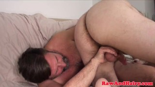 Ginger wank mature daddy cum silver bear for gay beard