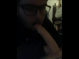 Gagging on dildo