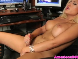 Busty blonde transbabe wanking her cock