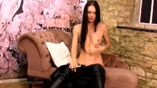 Masturbates spreads pussy brunette and toy leather catsuit strips gold off petite latex