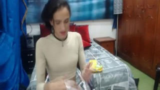 Horny Petite Shemale Babe Jerking Off