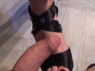 Girl loves to give footjob with cum on soles!