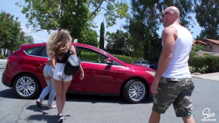 Hot Couple Picks up School Girl, Road Head, 3some and Dual CreamPie ensues! Creampie mother