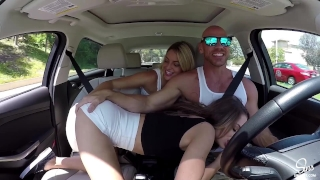 Hot Couple Picks up School Girl, Road Head, 3some and Dual CreamPie ensues! Nipple french