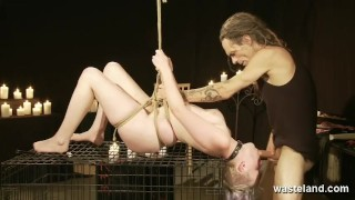 Cage Cock And A Facial For Bound Submissive With Short Blonde Hair