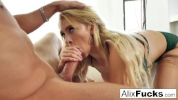 Alix Lynx slobbers all over a hot throbbing cock