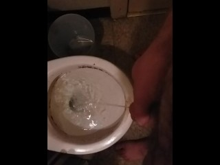 Solo Amateur Male Pisses in Toilet