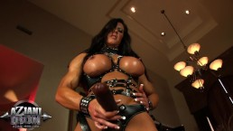 MUST SEE!!!!FREAKY MUSCLE MILF WITH STRAP-ON AND HUGE CLIT