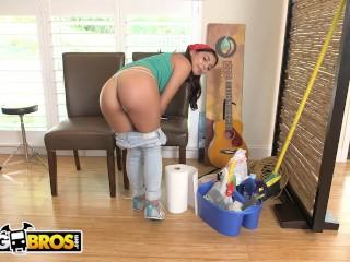Preview 1 of BANGBROS - Young, Skinny Brazillian Maid Gina Valentina Sucks and Fucks