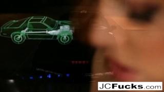Jayden Cole plays inside the Knight Rider car