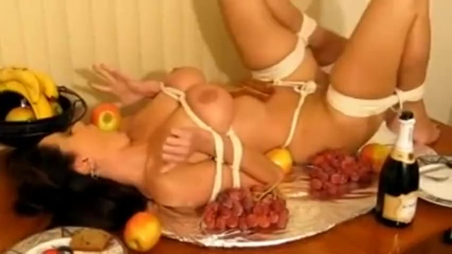 Girl Tied Like Turkey And Ball Gagged On Table Cc -3390
