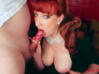 Sexy MILF Red takes a huge load on her tits
