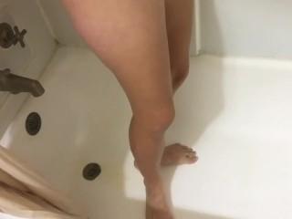 Pissing down body in shower...