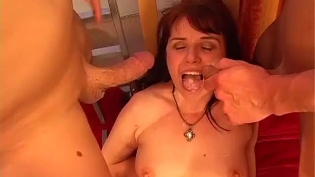 Old mature with young mature fucking with toy in threesome