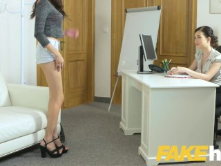 Preview 3 of Female Agent Shy Asian models sexy big tits and hairy pussy turn agent on