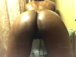 Oiled up ebony doggy style dildo fuck