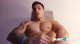 Rick Noe on Flirt4Free Guys - Buff Latino Hunk Jerks Off His Big Uncut Cock