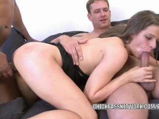 Czech slut Mona Lee gets every hole stuffed with four cocks