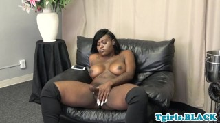 Busty black tgirl tugging dick after teasing