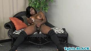 Busty black tgirl tugging dick after teasing