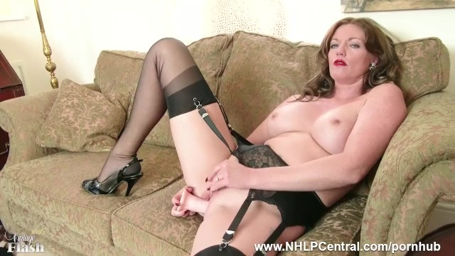 Hometown holly dildo Redhead milf masturbates in vintage lingerie nylons in kinky dildo session